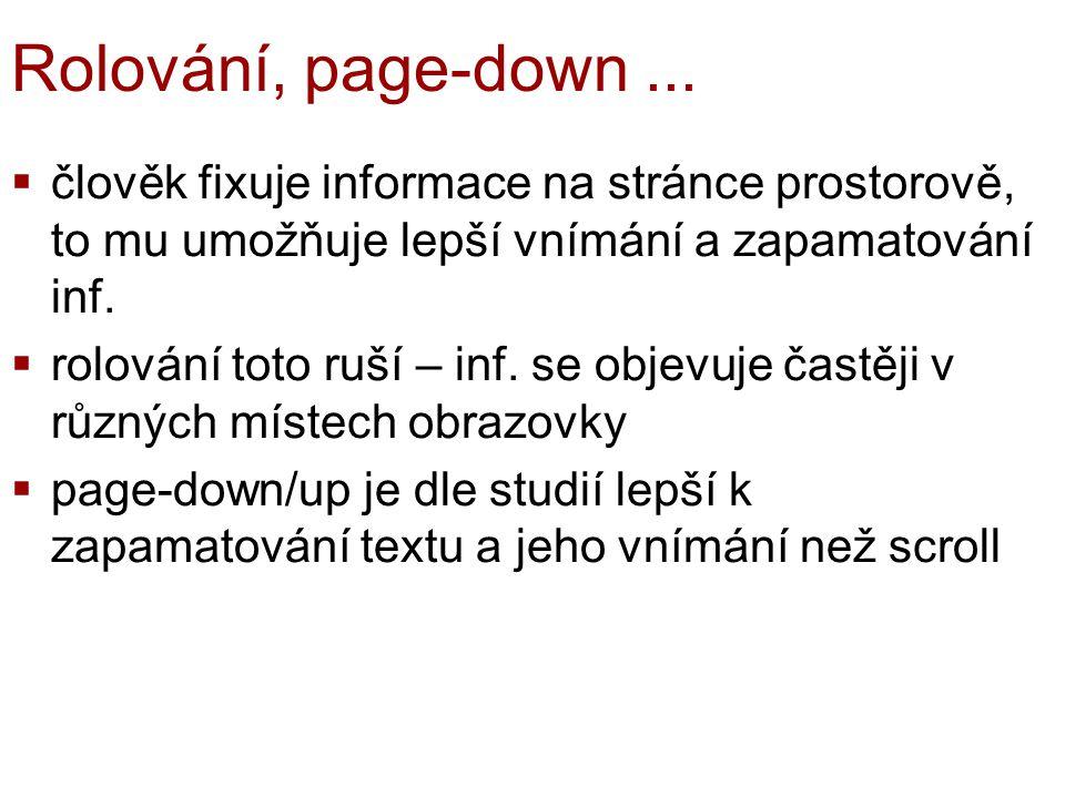 Rolování, page-down ... člověk fixuje informace na stránce prostorově, to mu umožňuje lepší vnímání a zapamatování inf.