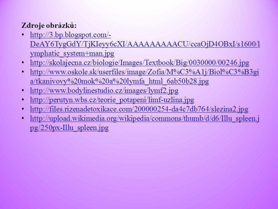 Zdroje obrázků: http://3.bp.blogspot.com/-DeAY6TygGdY/TjKIeyy6cXI/AAAAAAAAACU/ccaOjD4OBxI/s1600/lymphatic_system+man.jpg.