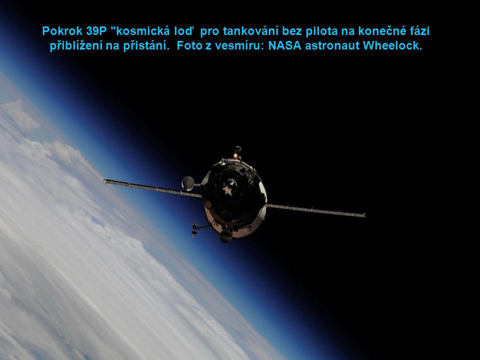 Pokrok 39P kosmická loď pro tankování bez pilota na konečné fázi přiblížení na přistání.