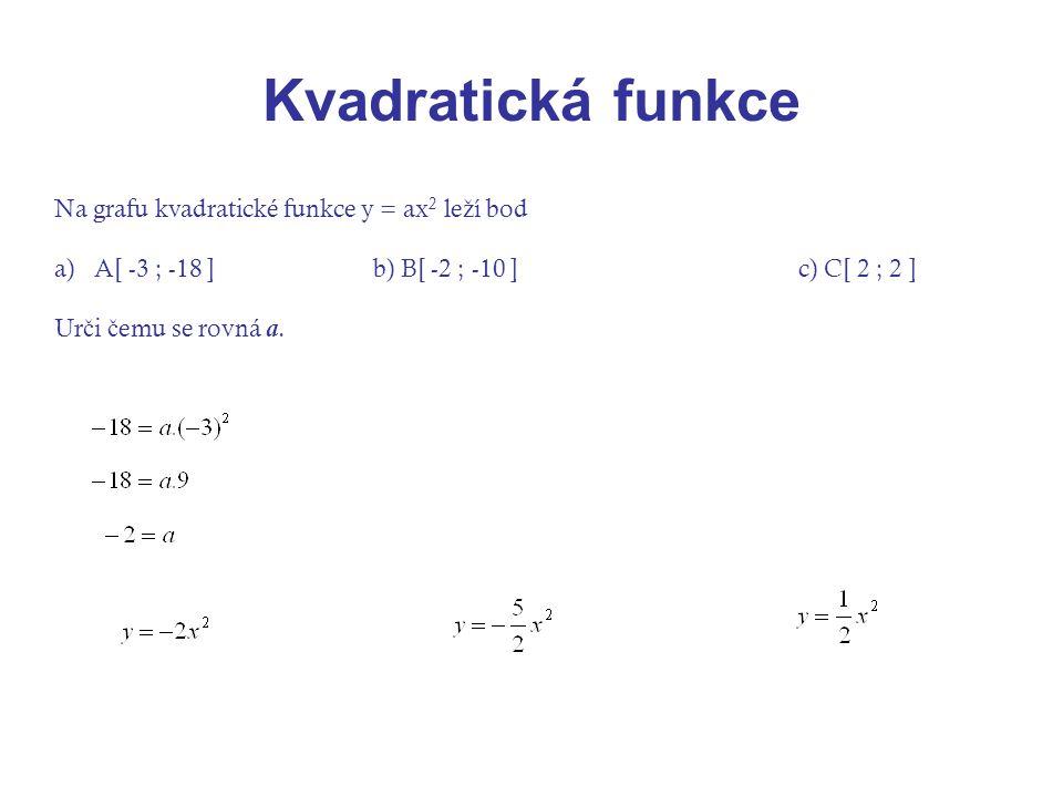 Kvadratická funkce Na grafu kvadratické funkce y = ax2 leží bod