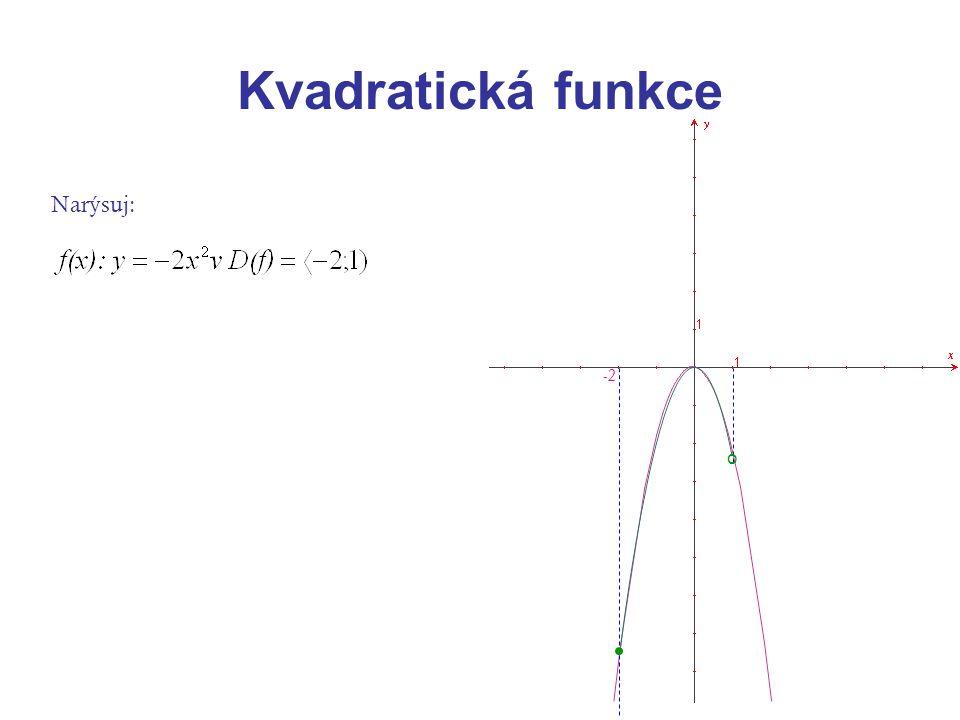 Kvadratická funkce Narýsuj: -2 o