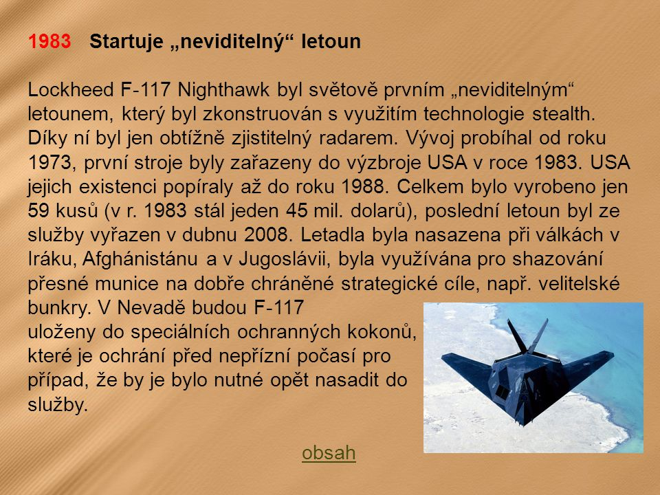 """1983 Startuje """"neviditelný letoun"""