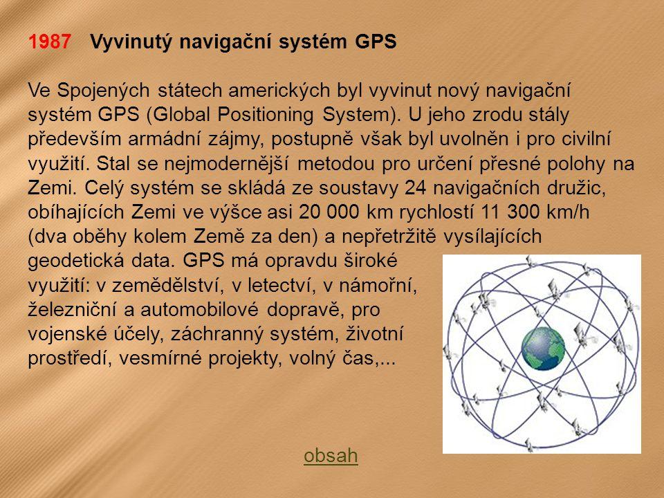 1987 Vyvinutý navigační systém GPS
