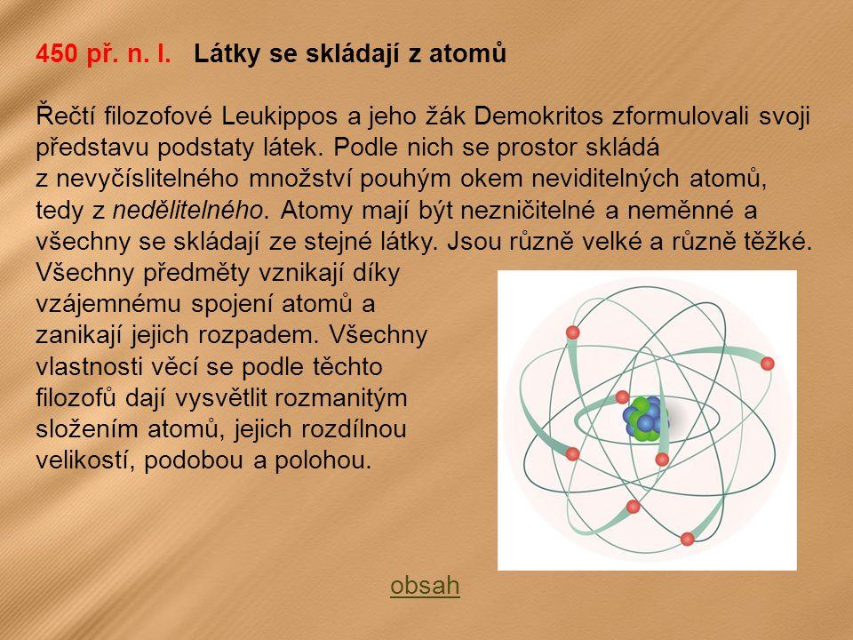 450 př. n. l. Látky se skládají z atomů