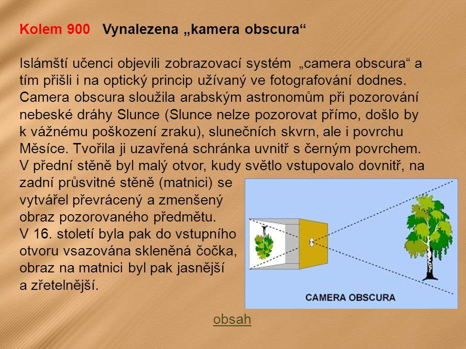 """Kolem 900 Vynalezena """"kamera obscura"""