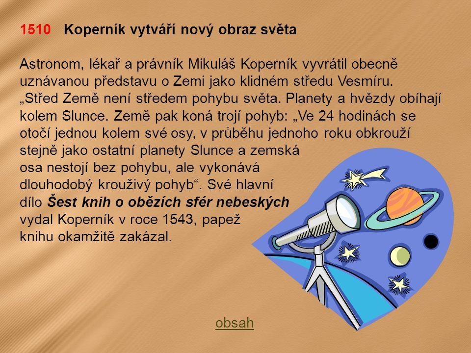 1510 Koperník vytváří nový obraz světa