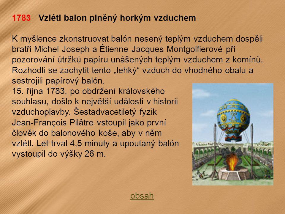 1783 Vzlétl balon plněný horkým vzduchem