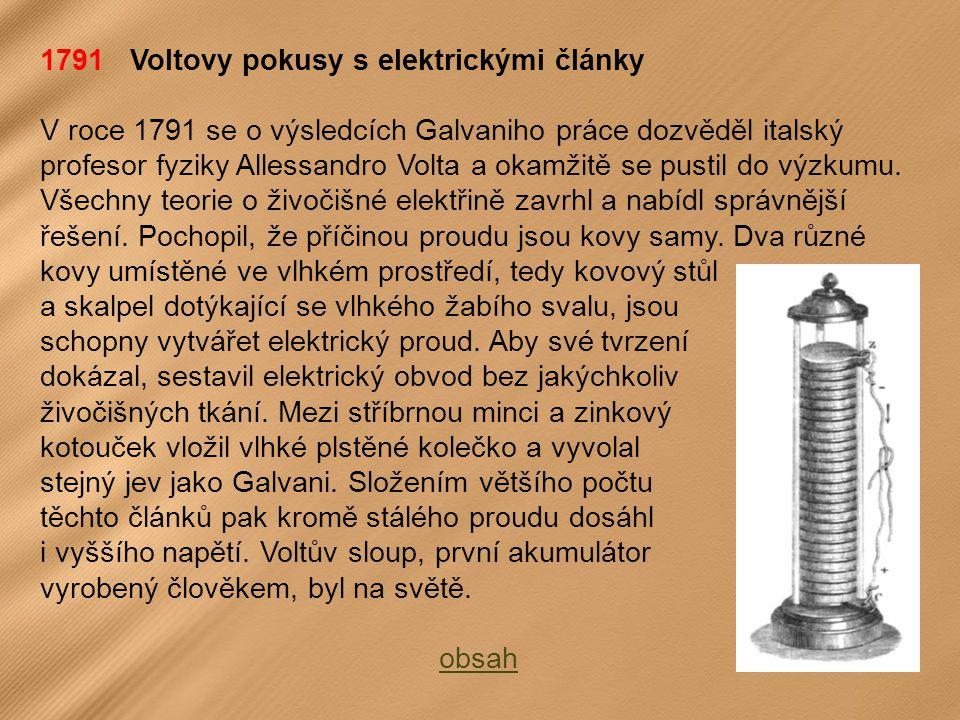 1791 Voltovy pokusy s elektrickými články