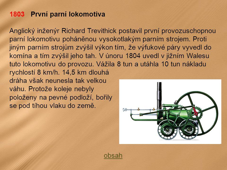 1803 První parní lokomotiva