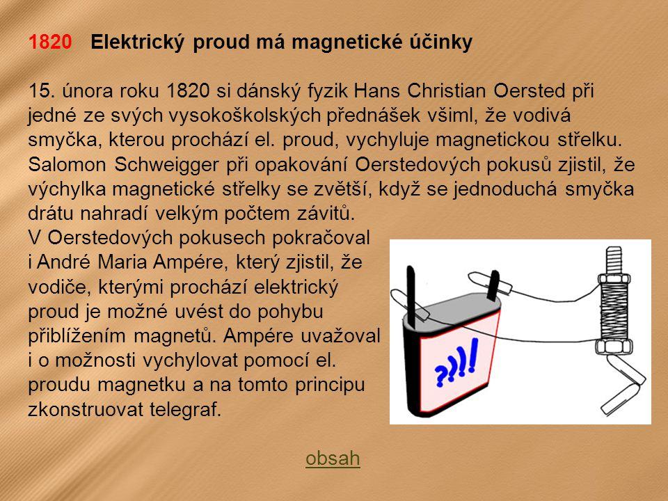 1820 Elektrický proud má magnetické účinky