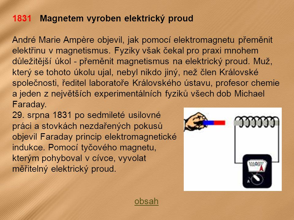 1831 Magnetem vyroben elektrický proud