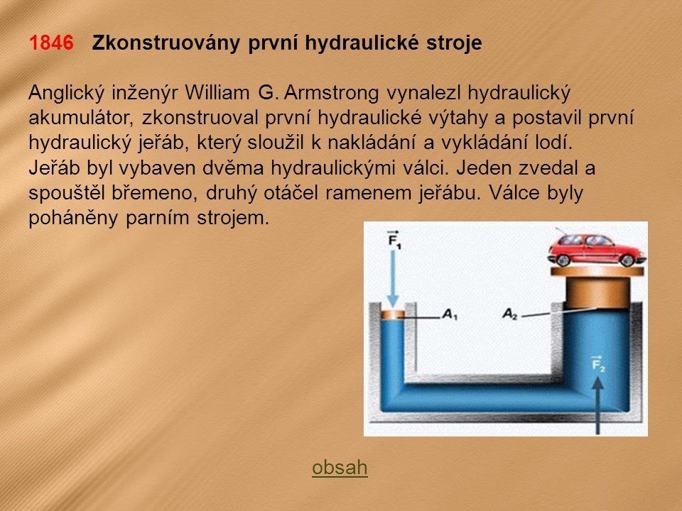 1846 Zkonstruovány první hydraulické stroje