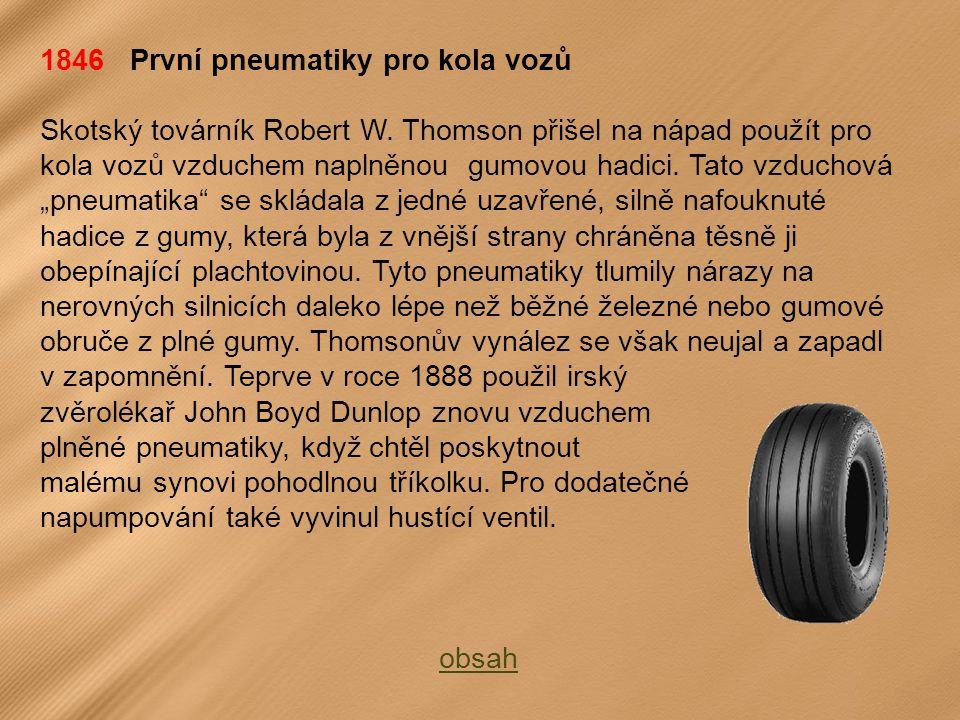 1846 První pneumatiky pro kola vozů
