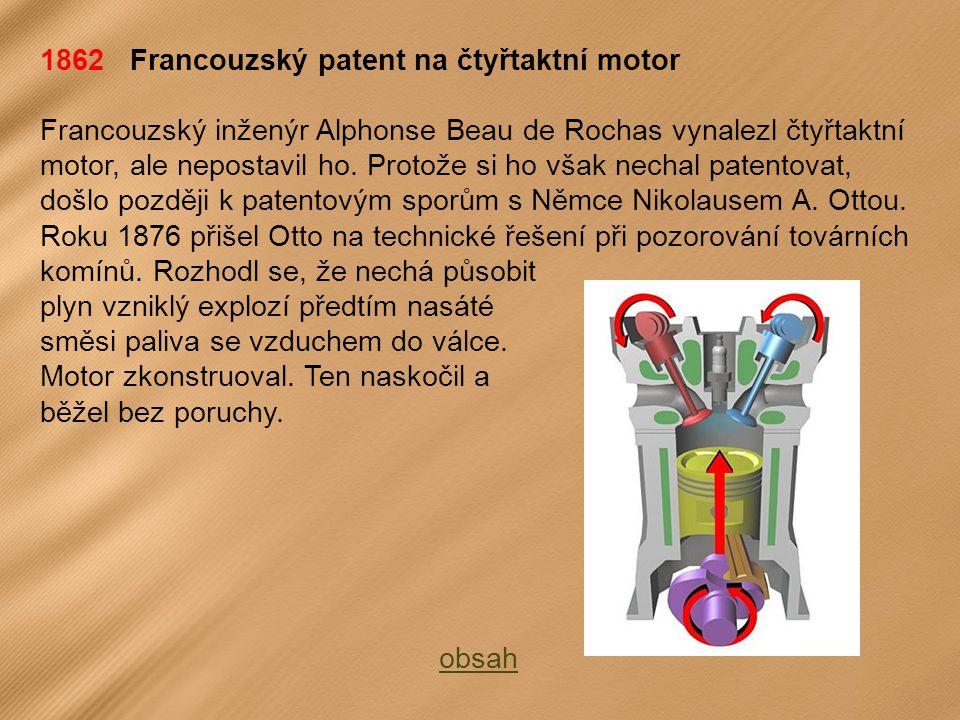 1862 Francouzský patent na čtyřtaktní motor