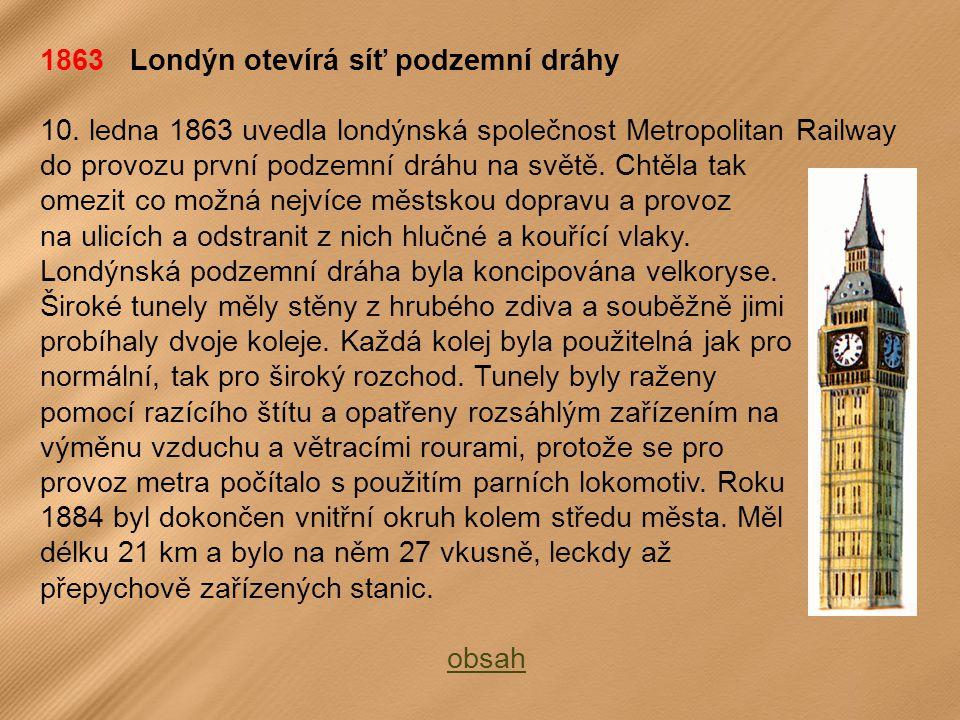 1863 Londýn otevírá síť podzemní dráhy
