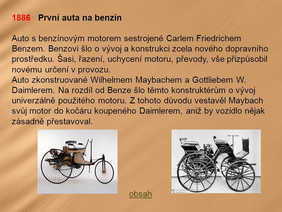 1886 První auta na benzín