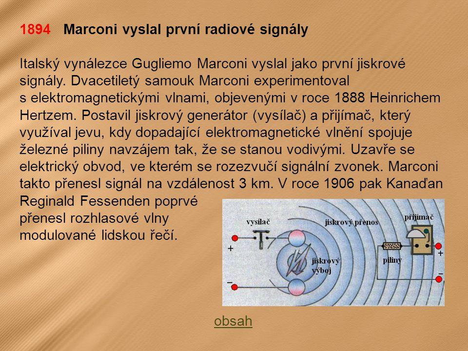1894 Marconi vyslal první radiové signály