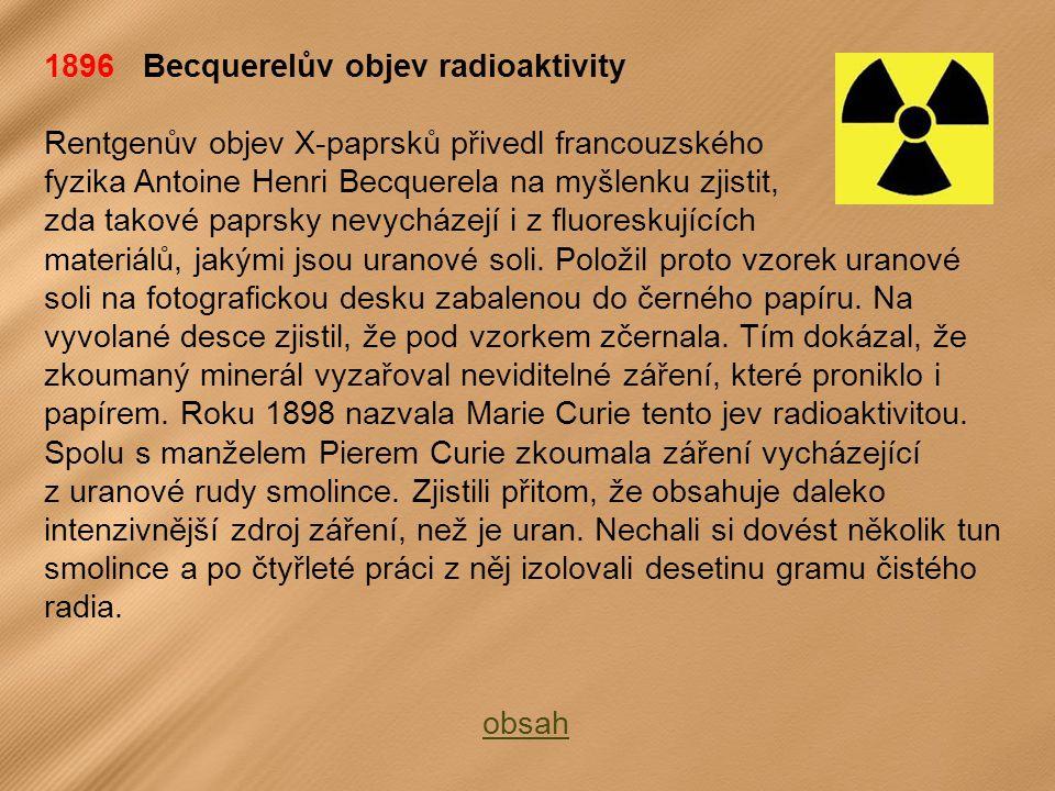 1896 Becquerelův objev radioaktivity