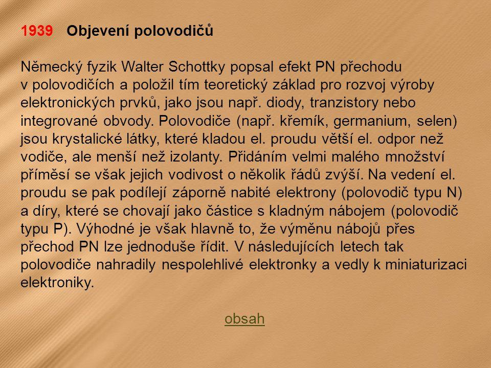 1939 Objevení polovodičů