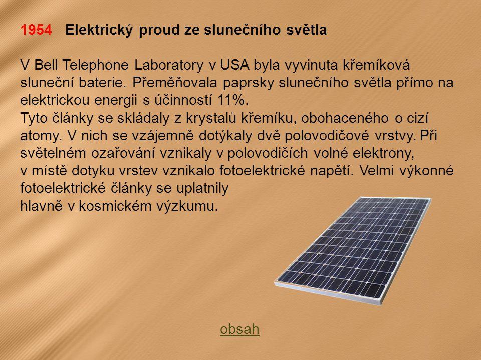 1954 Elektrický proud ze slunečního světla