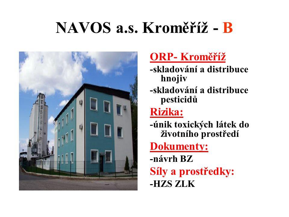 NAVOS a.s. Kroměříž - B ORP- Kroměříž Rizika: Dokumenty: