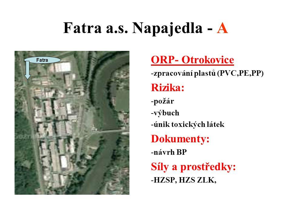 Fatra a.s. Napajedla - A ORP- Otrokovice Rizika: Dokumenty: