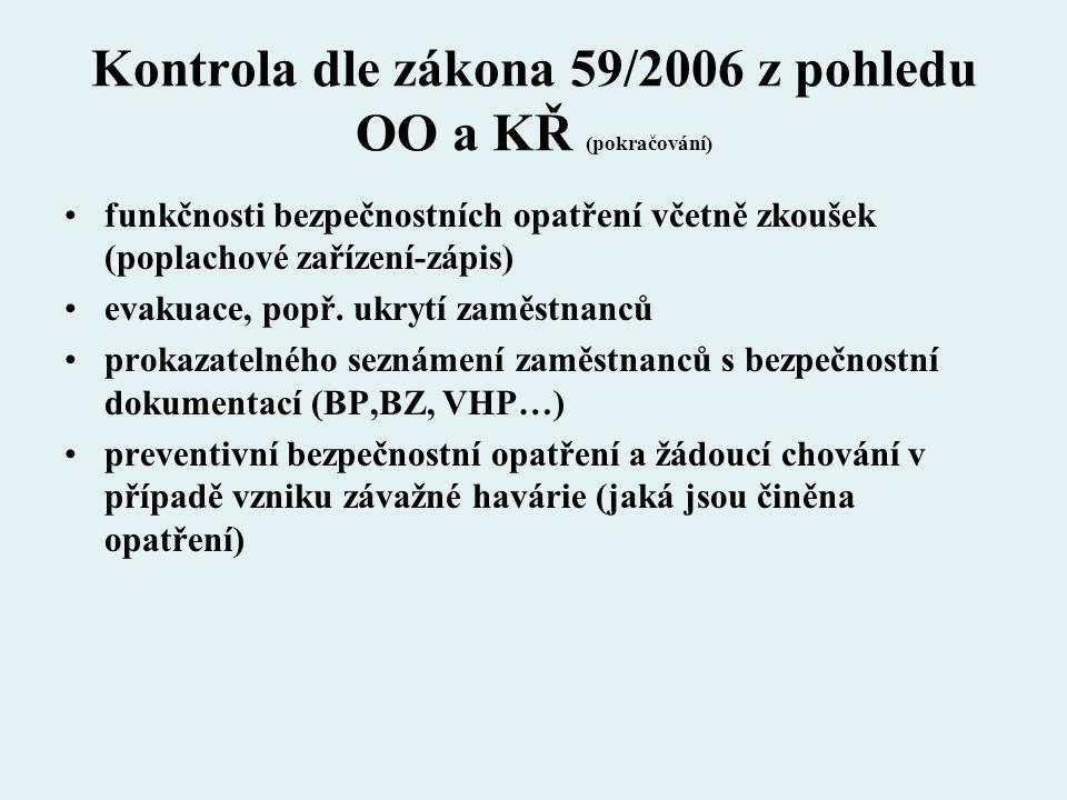 Kontrola dle zákona 59/2006 z pohledu OO a KŘ (pokračování)