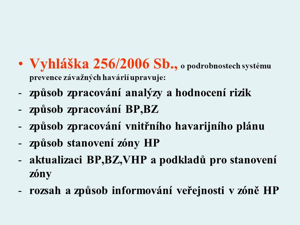 Vyhláška 256/2006 Sb., o podrobnostech systému prevence závažných havárií upravuje: