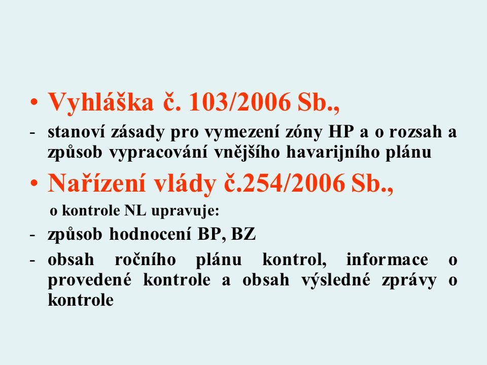 Vyhláška č. 103/2006 Sb., Nařízení vlády č.254/2006 Sb.,