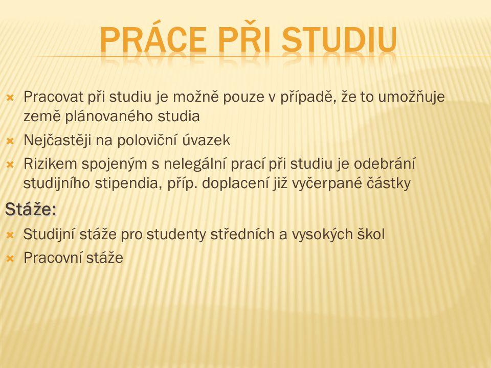 Práce při studiu Stáže: