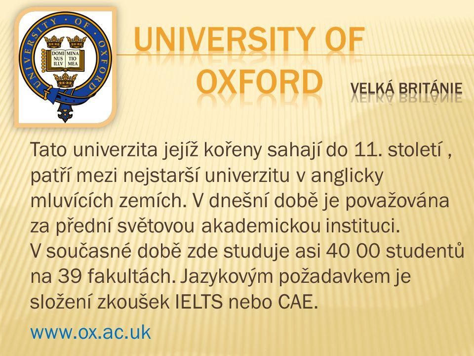 University of Oxford Velká Británie