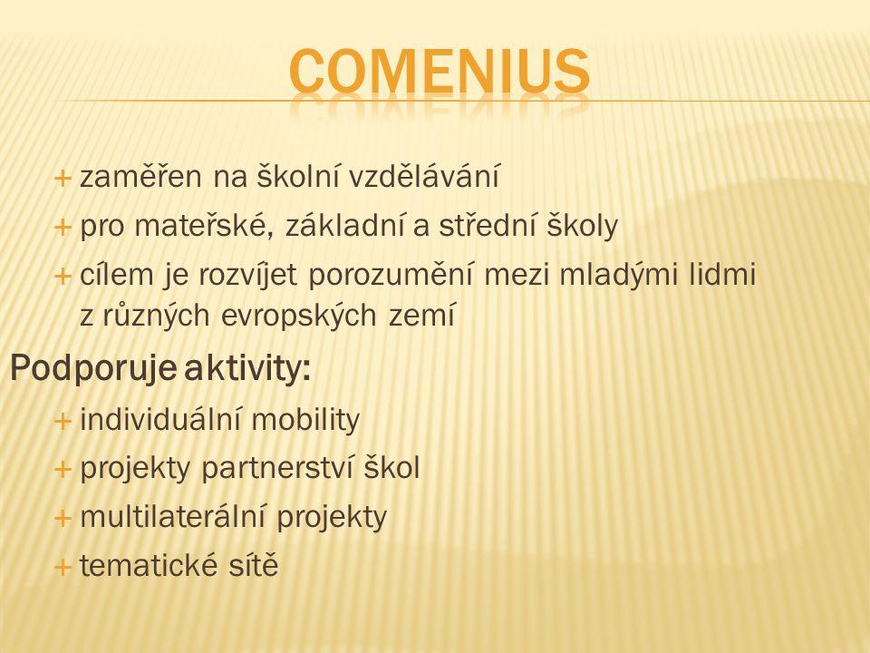 Comenius Podporuje aktivity: zaměřen na školní vzdělávání
