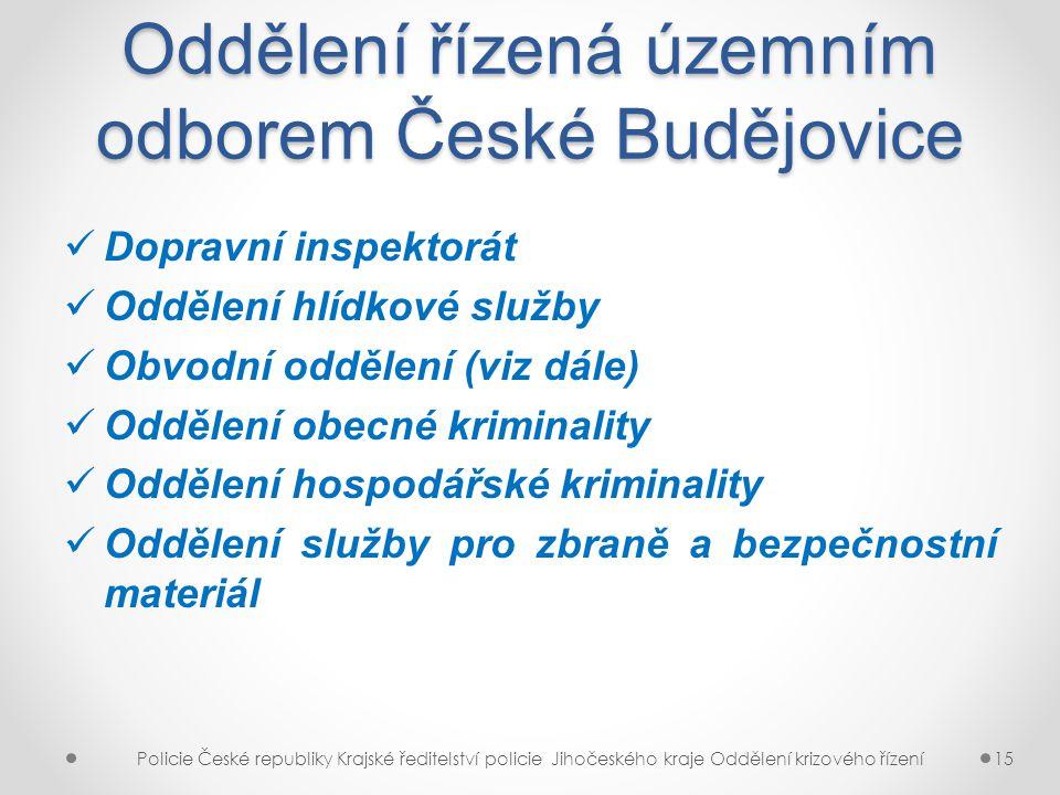 Oddělení řízená územním odborem České Budějovice
