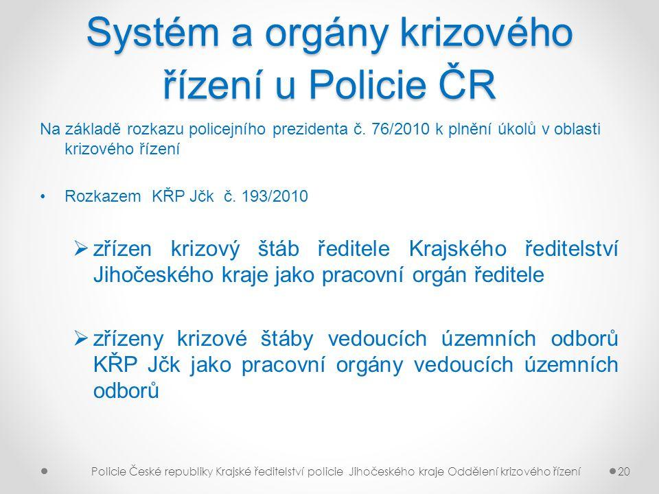Systém a orgány krizového řízení u Policie ČR