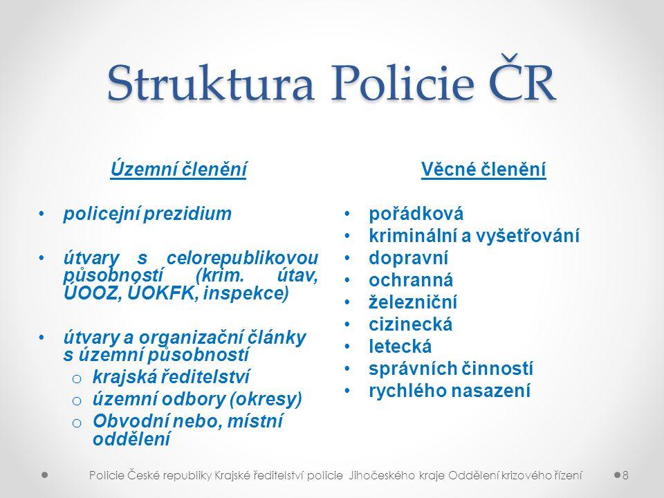 Struktura Policie ČR Územní členění policejní prezidium