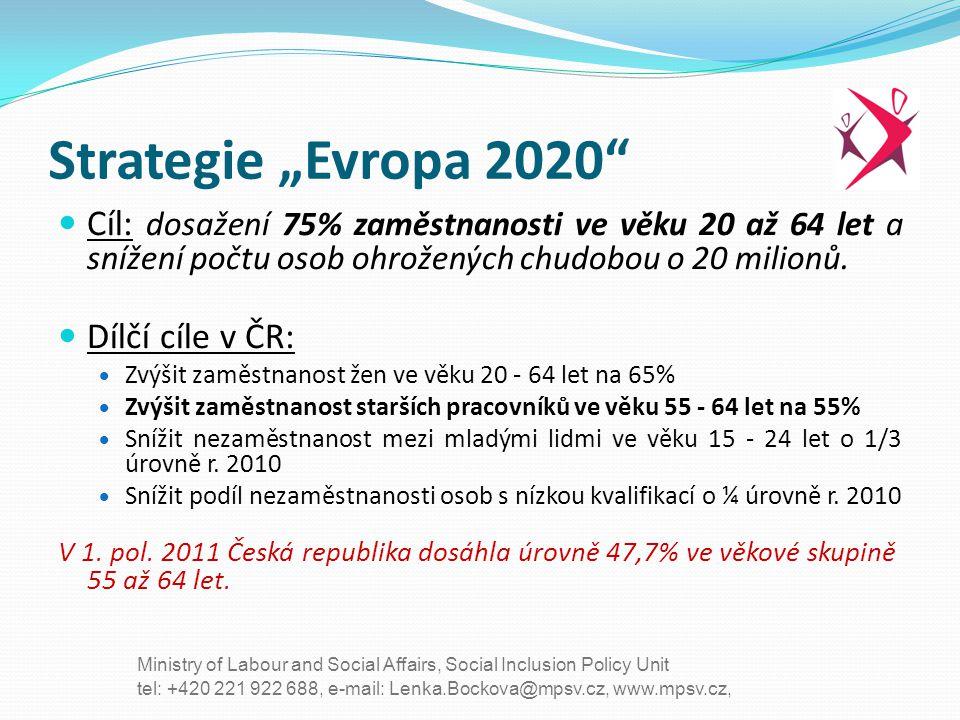 """Strategie """"Evropa 2020 Cíl: dosažení 75% zaměstnanosti ve věku 20 až 64 let a snížení počtu osob ohrožených chudobou o 20 milionů."""