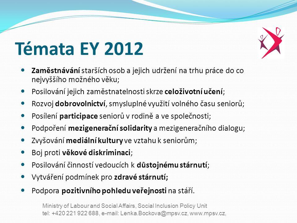 Témata EY 2012 Zaměstnávání starších osob a jejich udržení na trhu práce do co nejvyššího možného věku;