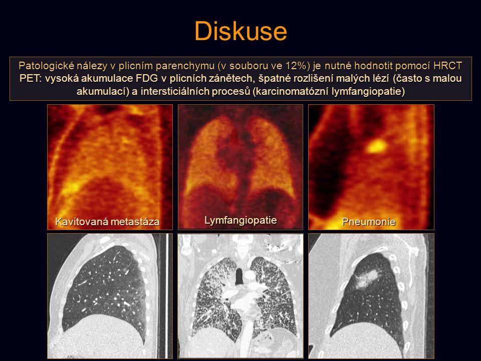 Diskuse Patologické nálezy v plicním parenchymu (v souboru ve 12%) je nutné hodnotit pomocí HRCT.