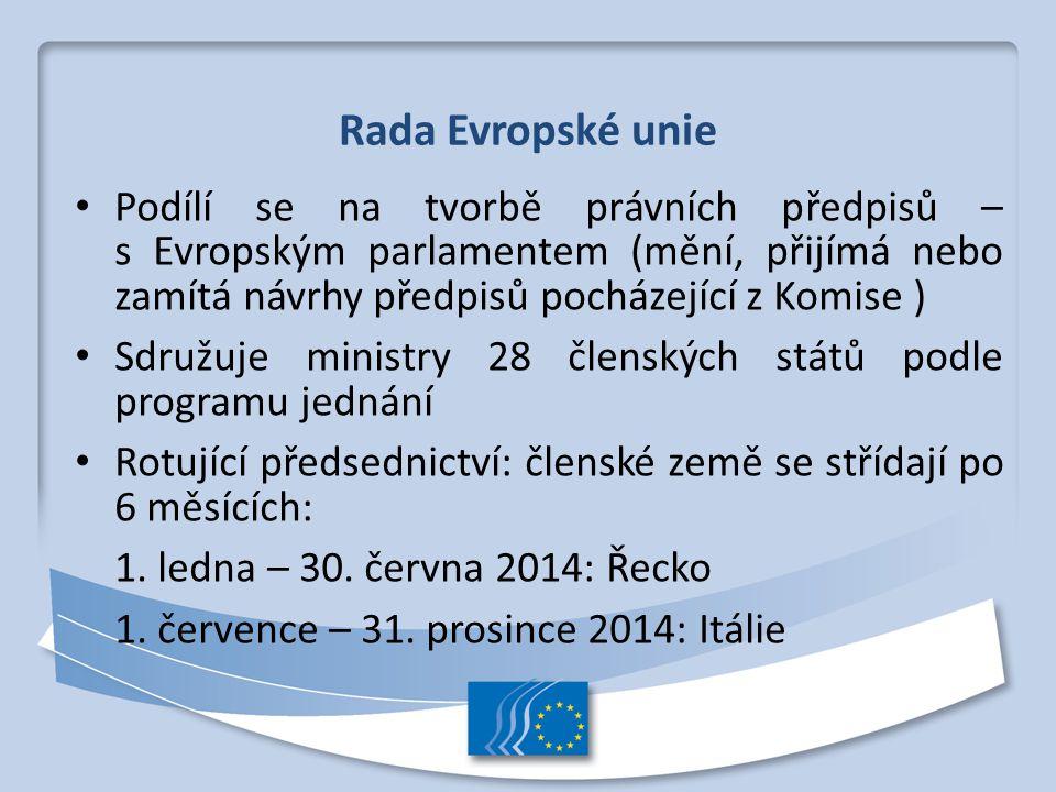 Rada Evropské unie Podílí se na tvorbě právních předpisů – s Evropským parlamentem (mění, přijímá nebo zamítá návrhy předpisů pocházející z Komise )