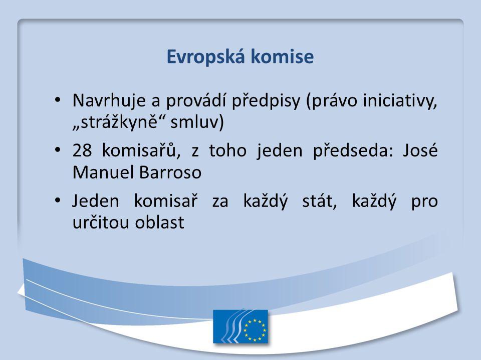 """Evropská komise Navrhuje a provádí předpisy (právo iniciativy, """"strážkyně smluv) 28 komisařů, z toho jeden předseda: José Manuel Barroso."""