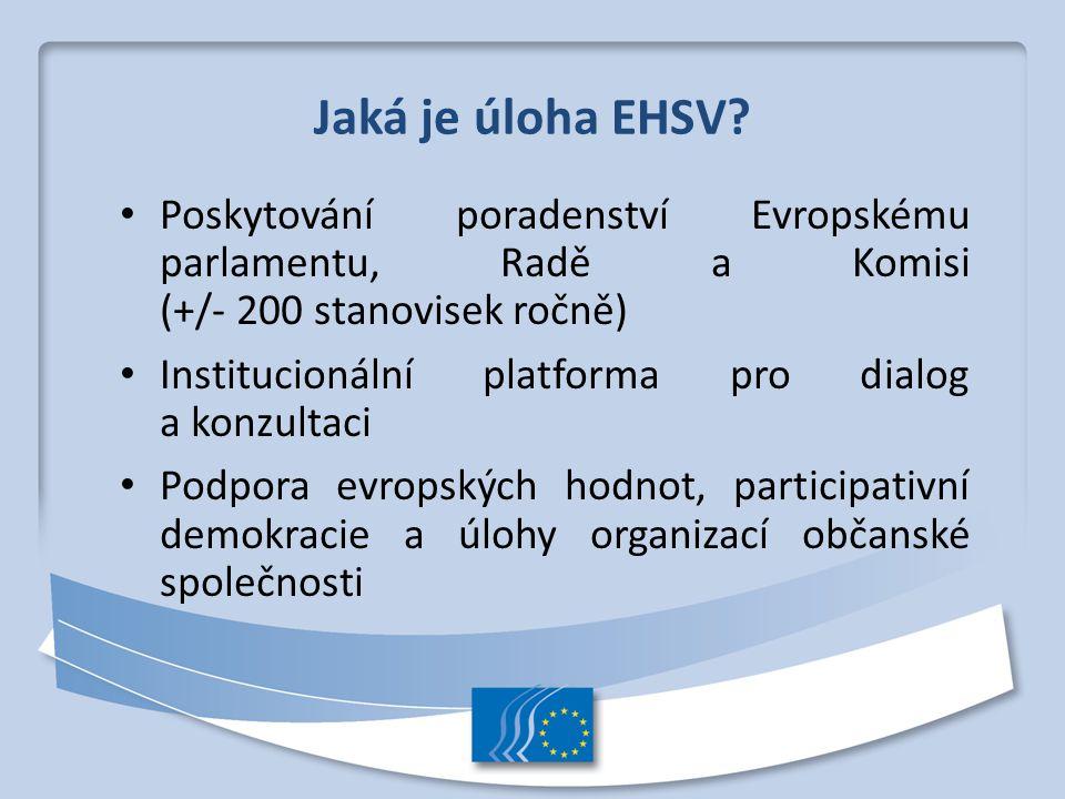 Jaká je úloha EHSV Poskytování poradenství Evropskému parlamentu, Radě a Komisi (+/- 200 stanovisek ročně)
