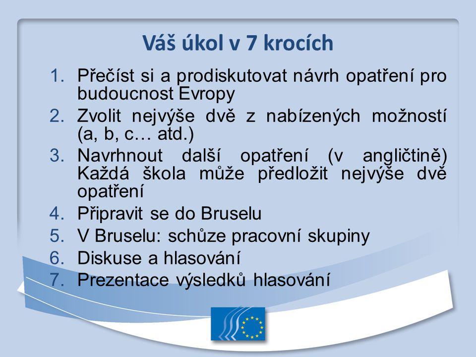 Váš úkol v 7 krocích Přečíst si a prodiskutovat návrh opatření pro budoucnost Evropy. Zvolit nejvýše dvě z nabízených možností (a, b, c… atd.)