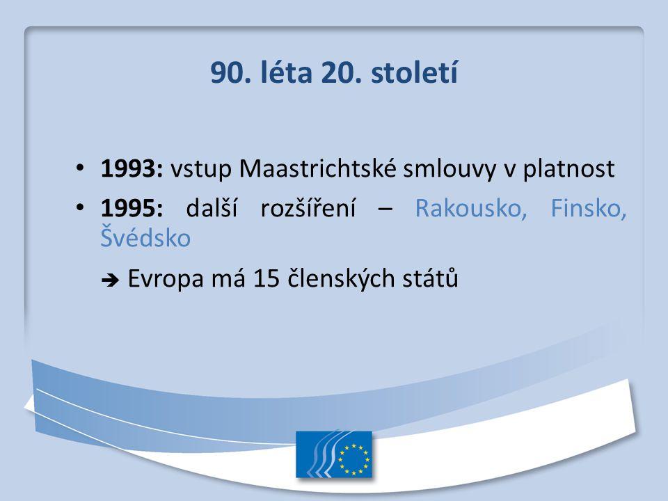 90. léta 20. století 1993: vstup Maastrichtské smlouvy v platnost