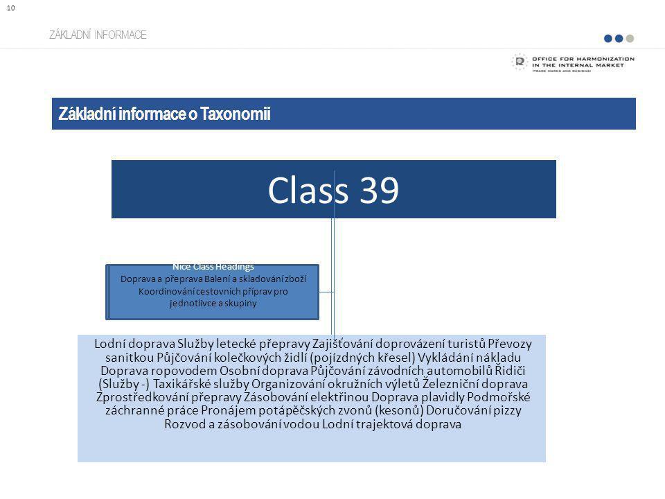 Class 39 Základní informace o Taxonomii