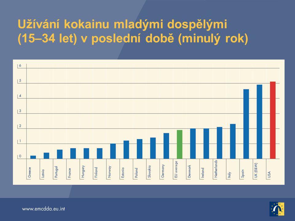 Užívání kokainu mladými dospělými (15–34 let) v poslední době (minulý rok)