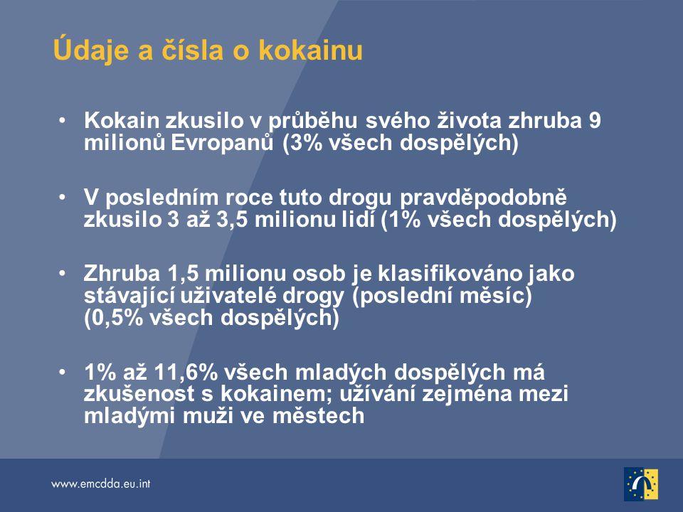Údaje a čísla o kokainu Kokain zkusilo v průběhu svého života zhruba 9 milionů Evropanů (3% všech dospělých)