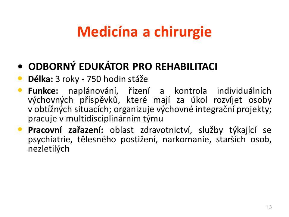 Medicína a chirurgie • ODBORNÝ EDUKÁTOR PRO REHABILITACI
