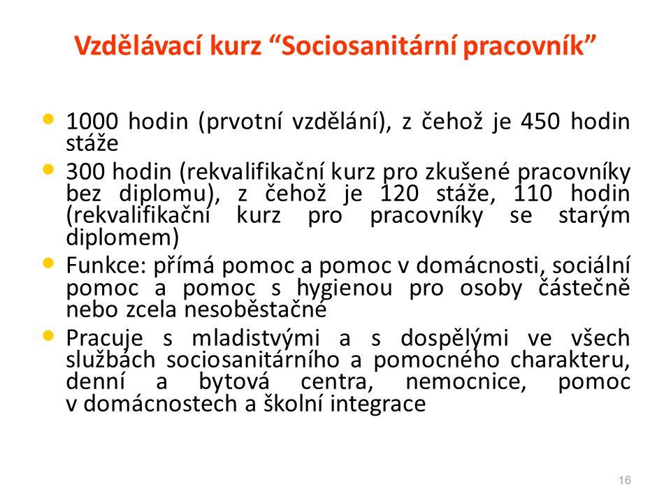 Vzdělávací kurz Sociosanitární pracovník