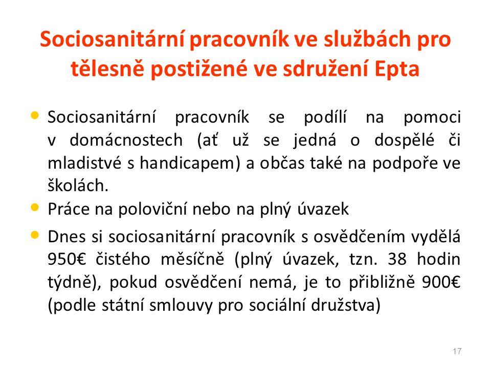 Sociosanitární pracovník ve službách pro tělesně postižené ve sdružení Epta