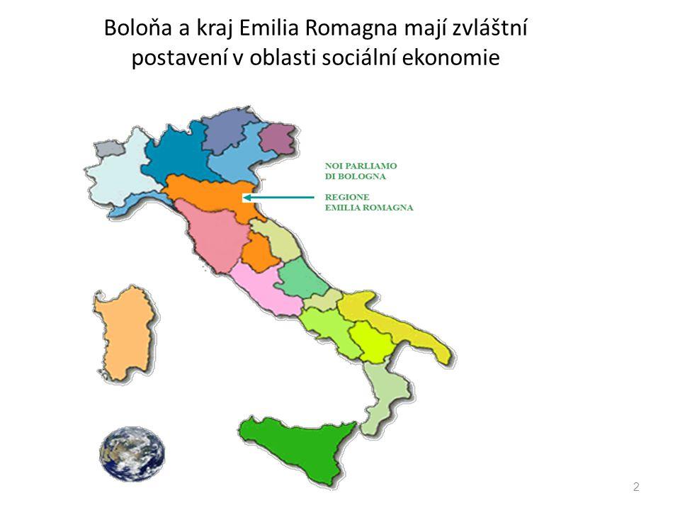 Boloňa a kraj Emilia Romagna mají zvláštní postavení v oblasti sociální ekonomie